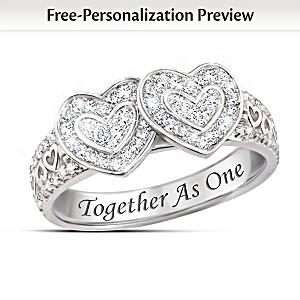 """Together As One"" White Topaz Ring Hides Two Engraved Names"