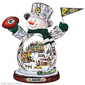 Packers Crystal Snowman With Real Moving Train