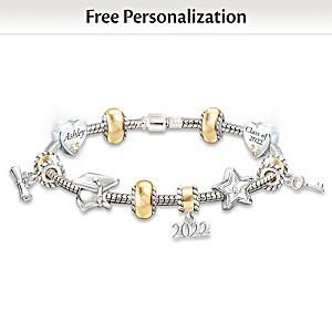 Personalized 10-Charm Bracelet With Crystals For Graduates
