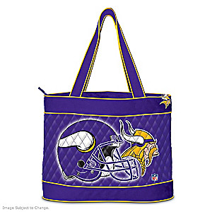 Minnesota Vikings Tote Bag With Free Cosmetic Case