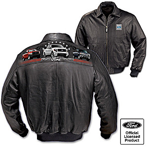 """Built Tough Ford Truck"" Men's Leather Bomber Jacket"