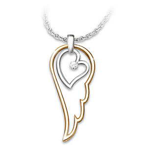 Wings Of An Angel Daughter Diamond Pendant With Musical Box