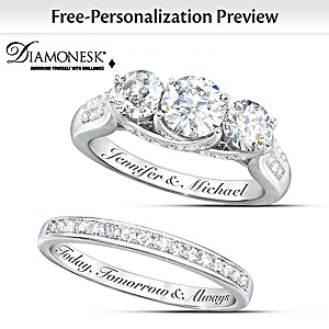 personalized diamonesk bridal rings with 5 carats of stones - Personalized Wedding Rings