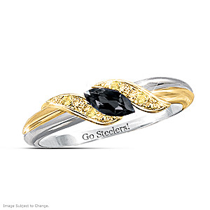 """Pride Of Pittsburgh"" Black Sapphire Engraved Embrace Ring"