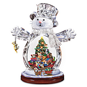 Illuminated Crystal Snow Cat Figurine With Moving Sleigh
