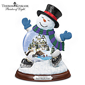Thomas Kinkade Sculpted Village Inside A Snowman Snowglobe