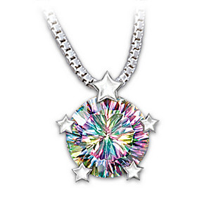 Rainbow Topaz Firework Pendant Necklace For Daughters