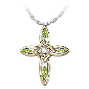 """Infinite Blessings"" Diamond & Peridot Celtic Cross Pendant"