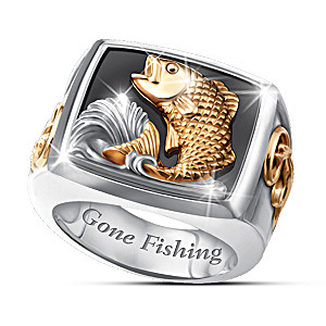 """Gone Fishing"" Men's Stainless Steel Bass Ring"