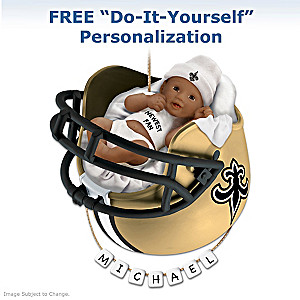 Saints Personalized African-American Baby Christmas Ornament