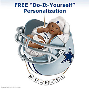 Cowboys Personalized African-American Baby Holiday Ornament