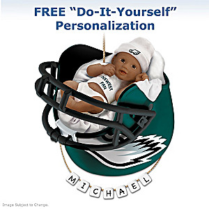 Eagles Personalized African-American Baby Christmas Ornament