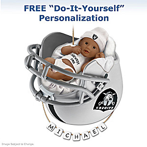 Raiders Personalized African-American Baby Holiday Ornament