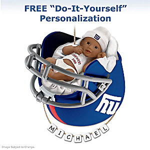 Giants Personalized African-American Baby Christmas Ornament