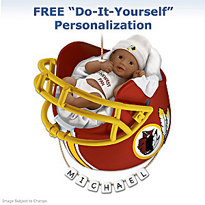 Redskins Personalized African-American Baby Holiday Ornament