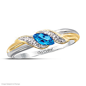 """Pride Of Indianapolis"" Topaz Engraved Embrace Ring"