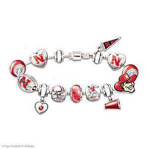 Nebraska Cornhuskers Charm Bracelet With Swarovski Crystals