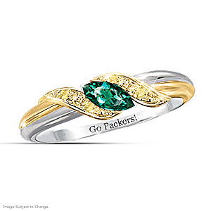 """Pride Of The Packers"" Emerald Engraved Embrace Ring"