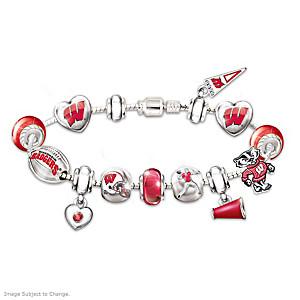 Wisconsin Badgers Charm Bracelet With Swarovski Crystals
