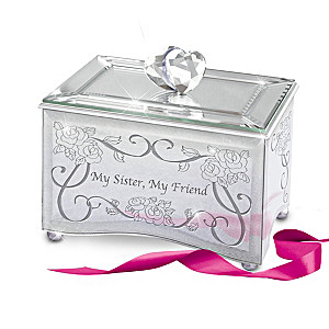 """My Sister, My Friend"" Mirrored Music Box With Poem Card"