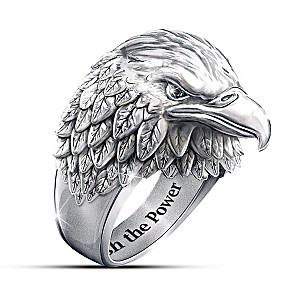 "Stainless Steel ""Strength And Pride"" Eagle Ring"