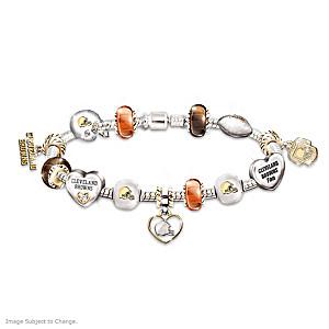Cleveland Browns Charm Bracelet With Swarovski Crystals