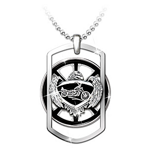 """""""Ride Forever"""" Motorcycle Spinning Pendant Necklace"""