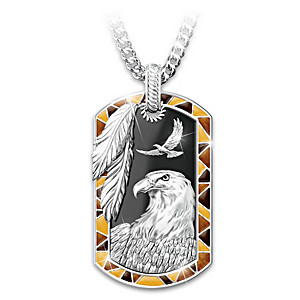 """Sedona Spirit"" Eagle Onyx Dog Tag Pendant Necklace"