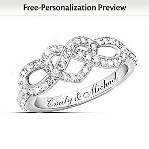Personalized Lover's Knot Ring With 12 Diamonds