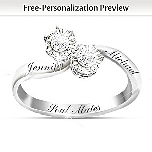 """Soul Mates"" Personalized Diamond Ring With 2 Engraved Names"