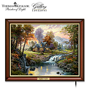 "Thomas Kinkade ""Mountain Retreat"" Illuminated Canvas Print"
