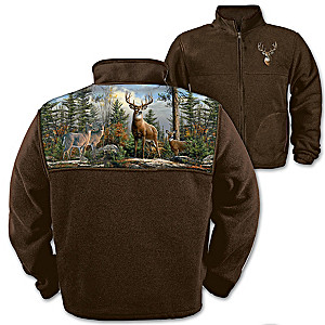 Men's Fleece Jacket With Joe Haughtman's Deer Art