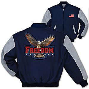 """Freedom"" Varsity-Style Men's Twill Jacket"