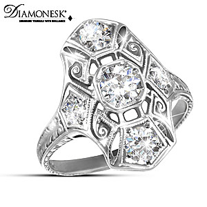 """Timeless Radiance"" Diamonesk Art Deco Heirloom Replica Ring"