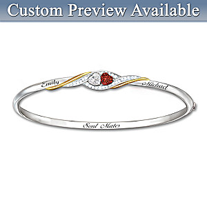 Two Hearts Become Soul Mates Topaz/Garnet Engraved Bracelet