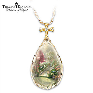 "Thomas Kinkade ""Stairway to Heaven"" Crystal Teardrop Pendant"
