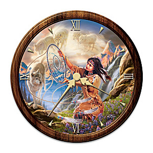 """Illuminating Spirits"" Day-To-Night Stained-Glass Wall Clock"