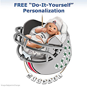 "Personalized ""Buckeyes Fan"" Baby's First Christmas Ornament"