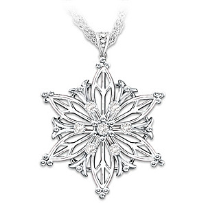 Silver And Diamond Snowflake Pendant With Poem For Daughter