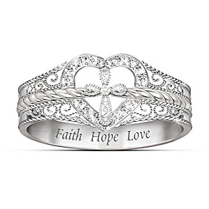 Sterling Silver Diamond Ring With Cross And Heart Design