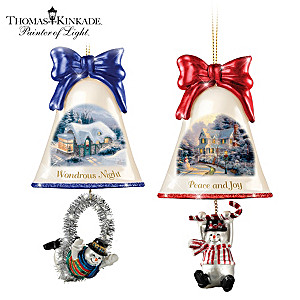Thomas Kinkade Ringing In The Holidays Ornament: Set 6