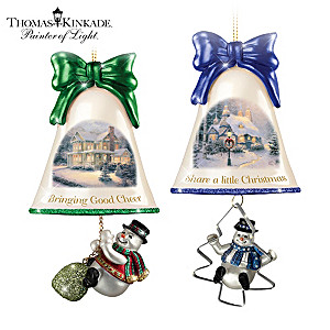 Thomas Kinkade Ringing In The Holidays Ornaments: Set 7