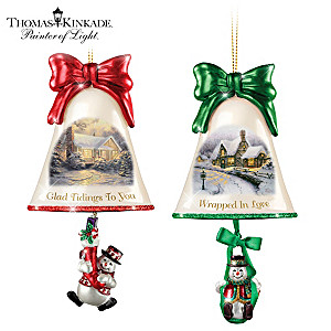 Thomas Kinkade Ringing In The Holidays Ornament: Set 8