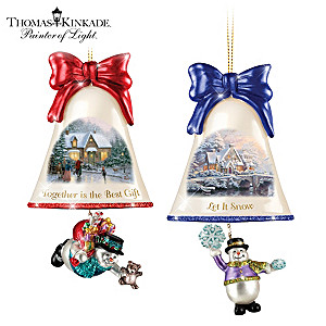 Thomas Kinkade Ringing In The Holidays Ornaments: Set 9