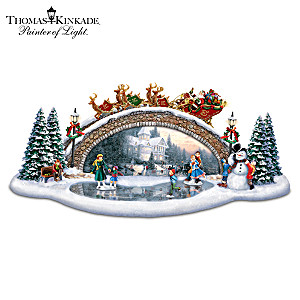 Thomas Kinkade Bridge Sculpture With Lights And Music