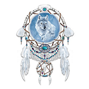 Eddie LePage Dreamcatcher With Wolf Art On Real Leather