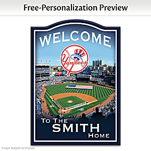 New York Yankees Wooden Welcome Sign Personalized With Name