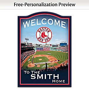 Boston Red Sox Wooden Welcome Sign Personalized With Name
