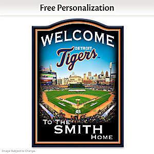Detroit Tigers Wooden Welcome Sign Personalized With Name