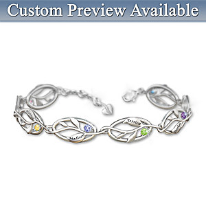 """Family Of Love"" Name-Engraved Birthstone Bracelet"